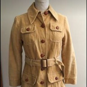 Vintage Women's Cord Trench Jacket + Four Pockets